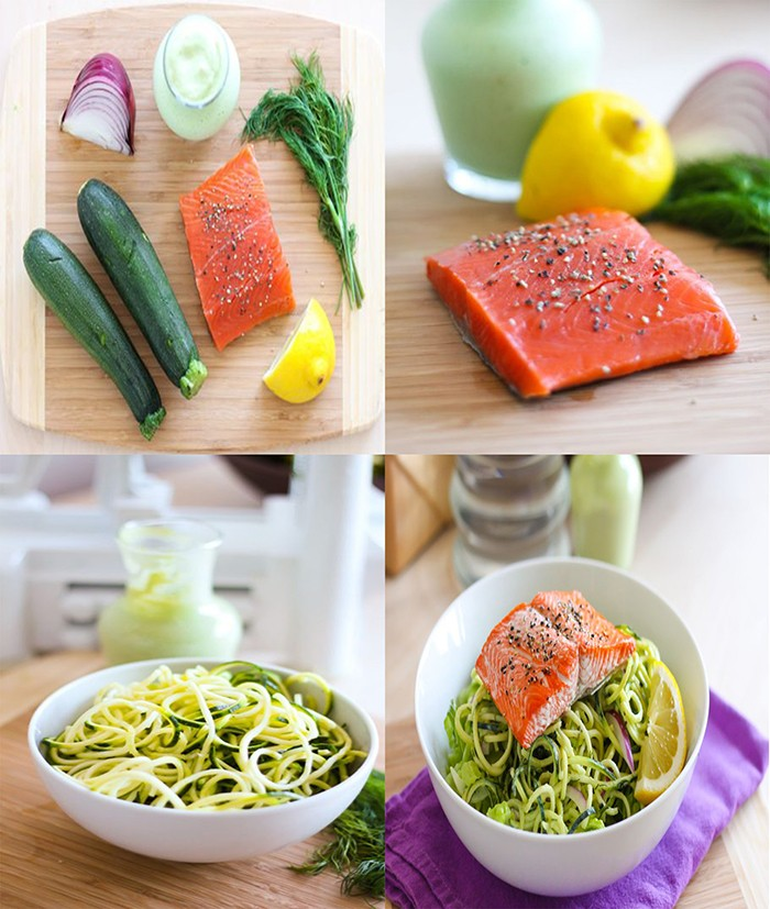 سالاد کدو سبز با ماهی وسس لیمویی