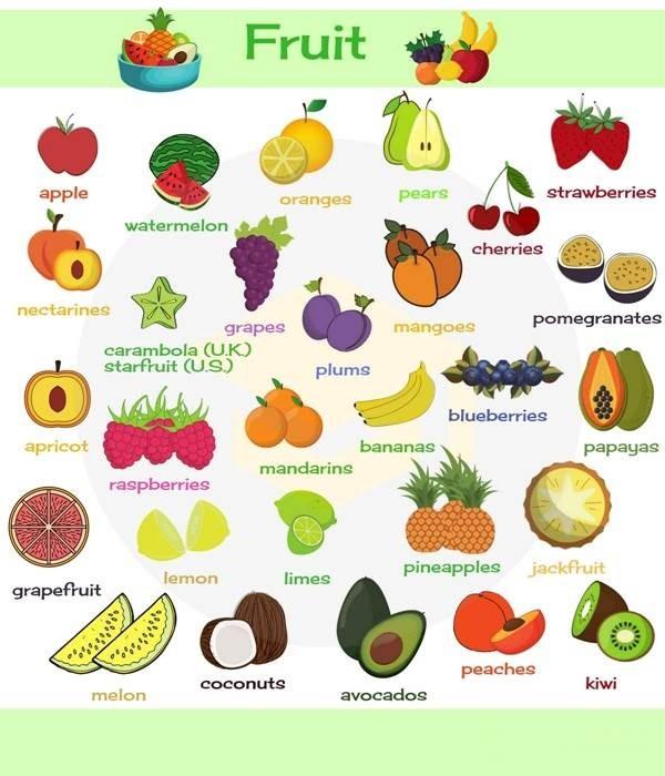 اسامی میوه ها به زبان انگلیسی
