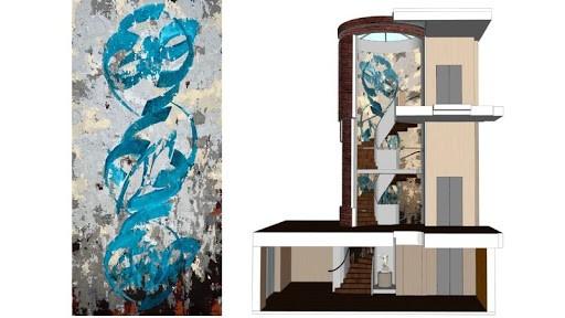 نقاشی دیواری شهرزاد غفاری در خانه موزه لیتون