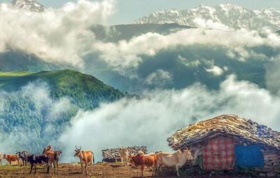 مازیچال روستایی بر فراز ابرهای سفید