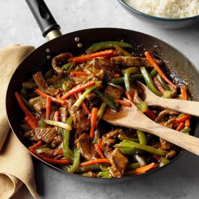 طرز تهیه استیک با سبزیجات