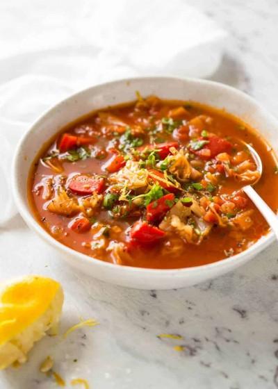 سوپ کلم پیچ با عدس قرمز
