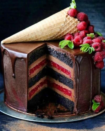 آموزش کیک روسی تمشک و شکلات