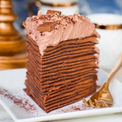 آموزش کرپ کیک بیستلایه شکلاتی با فیلینگ و خامه شکلات
