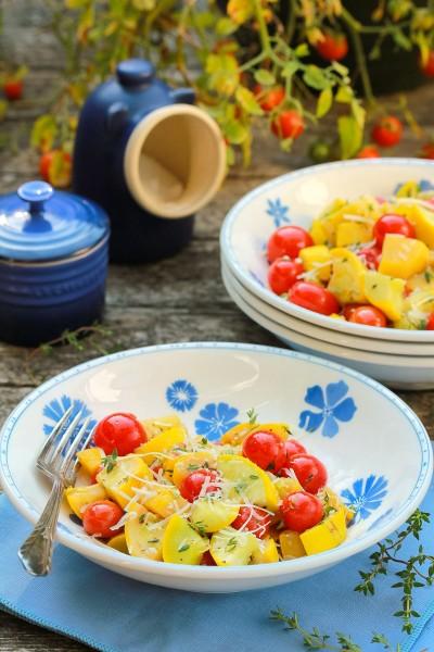 آموزش پخت خوراک کدو زرد با گوجه گیلاسی