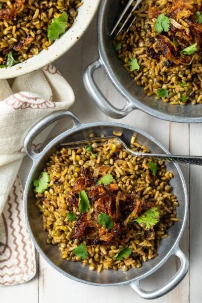 طرز تهیه عدس با برنج مجادرا لبنانی