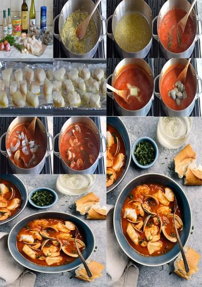طرز تهیه خوراک دریایی با میگو ، صدف و فیله ماهی