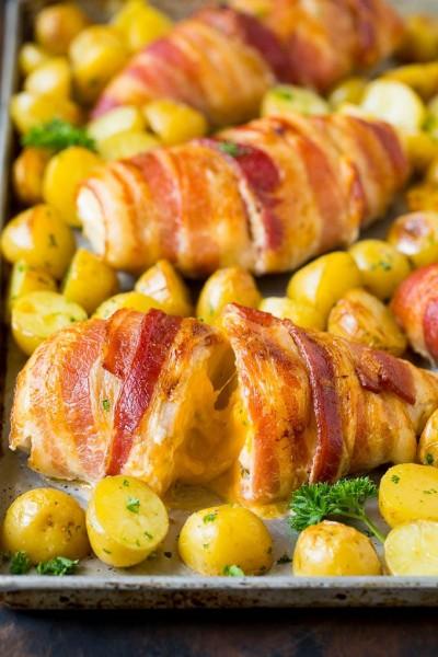 طرز تهیه بیکن سینه مرغ شکم پر شده