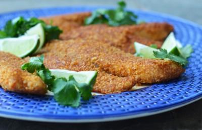 طرز تهیه ماهی تیلاپیا سوخاری شده با ترتیلا مکزیکی