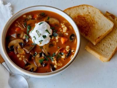 طرز تهیه سوپ قارچ با جو