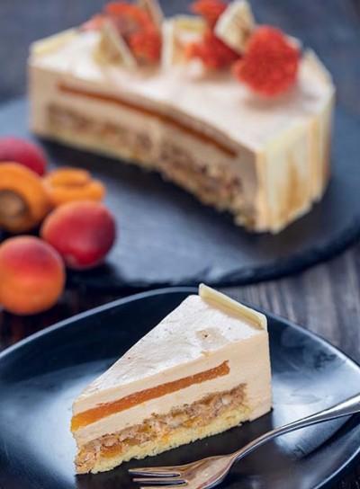 طرز تهیه کیک موس شکلات سفید و زردآلو
